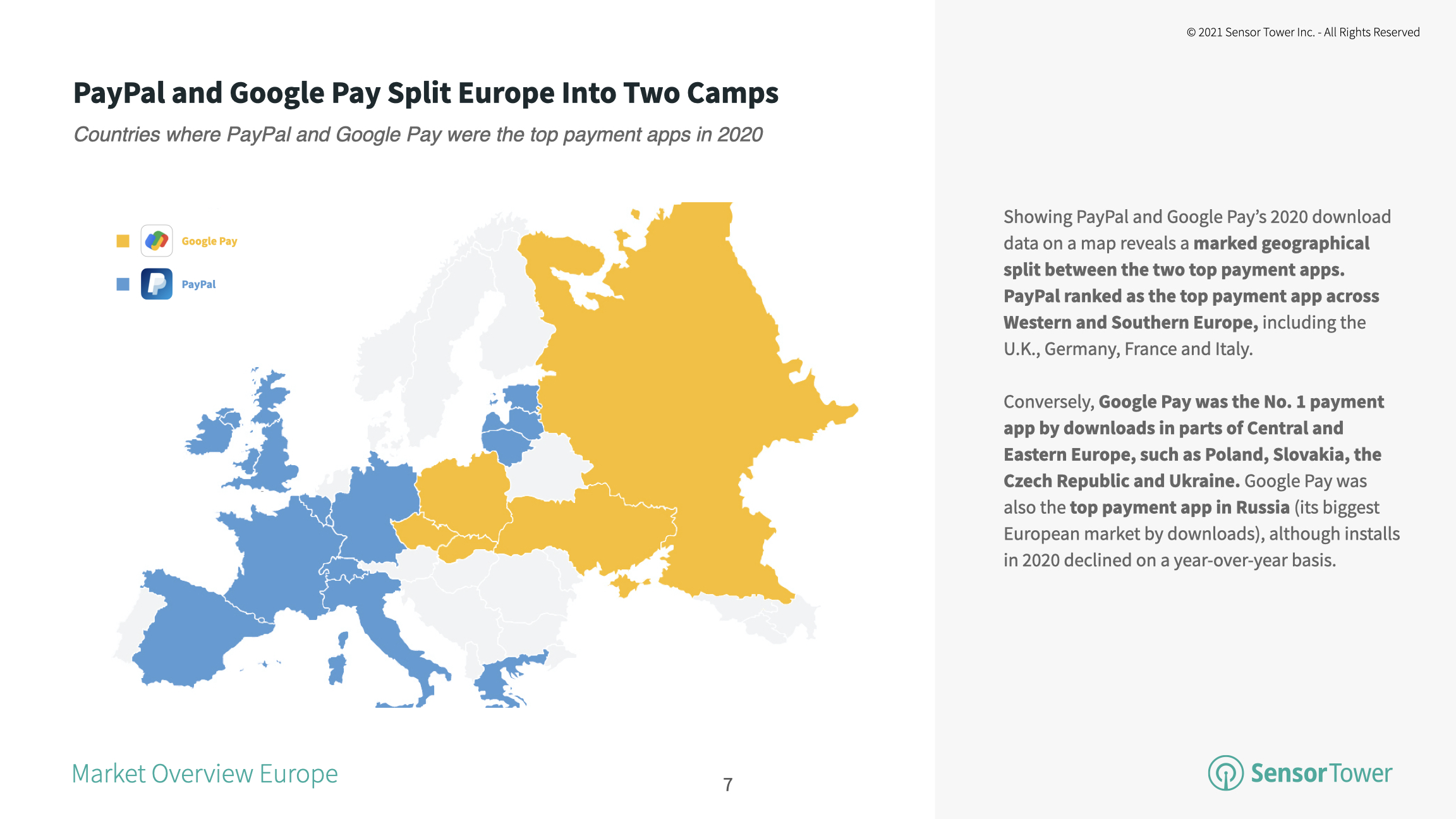 Regional breakdown of PayPal and Google Pay